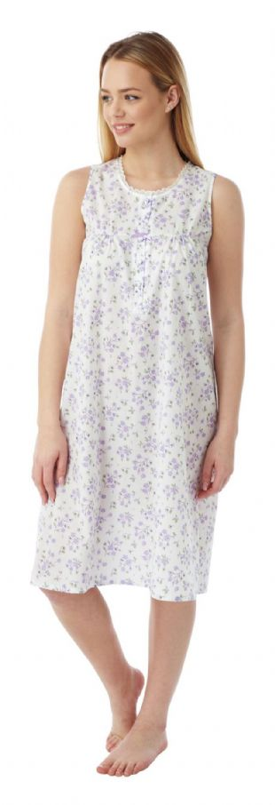 Ladies Built Up Shoulder Floral Lightweight Nightdress - 3   Colours in Sizes 10 - 30